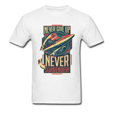 Never Give Up Never Surrender Star Wars T Shirt 80s T-shirt Boyfriend Gift Tshirt Men Cotton Clothing Vintage Top Black Tees