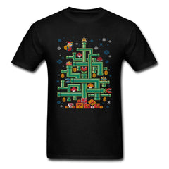 Santa Claus Mario! T-shirt Men Christmas Tree T Shirt Plumber Tops 80s Game Tshirt Super Mario Tees Cotton Clothes Xmas