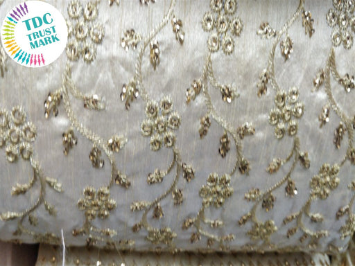 White Flowers Design Embroidered Duplin Fabric (20 Metres)