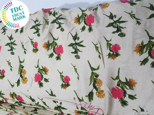 Off White Floral Rayon Fabric (500 Metres)