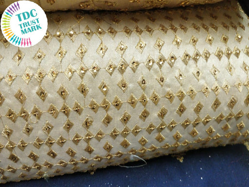 Golden Argyle Design Embroidered Duplin Fabric (20 Metres)