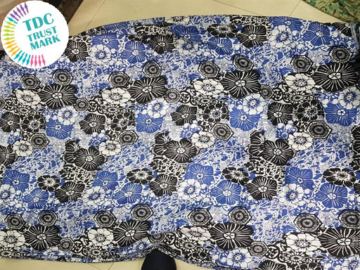 Blue Black Floral Rayon Fabric (500 Metres)