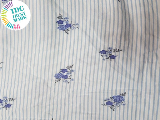 White Small Flowers Rayon Fabric (500 Metres)