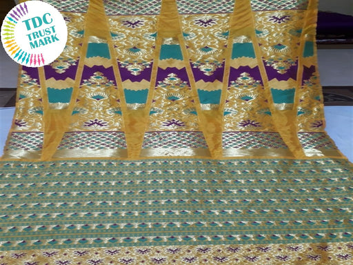 Mustard Rangoli Polyester Fabric (Set Of 4, 6.5 Metres)