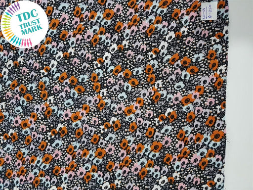 Black Multicolour Floral Rayon Fabric (500 Metres)