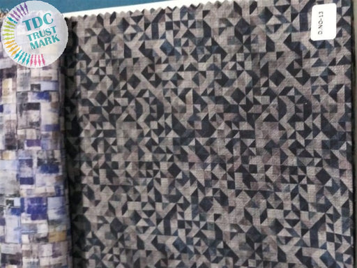 Brown Blue Geometric Poly Linen Fabric (15 Meters)