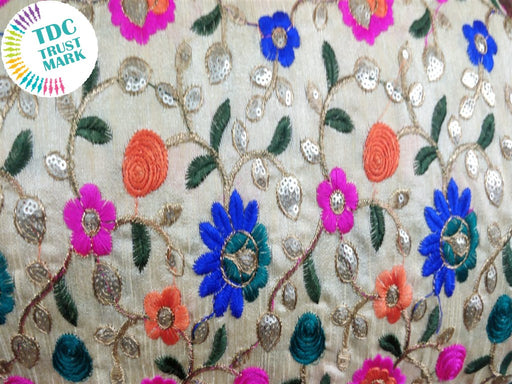 Multicolour Flowers Design Embroidered Duplin Fabric (20 Metres)