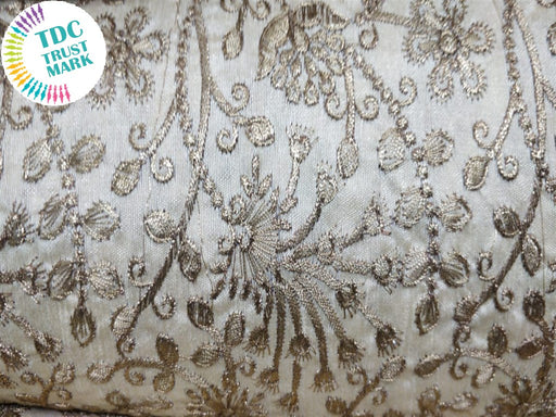 White Floral Design Banglori Silk Fabric (20 Metres)