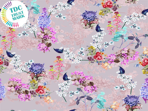 Light Pink Floral Poly Crepe Fabric (25 Metres)
