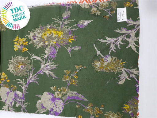 Green Flowers Rayon Fabric (500 Metres)