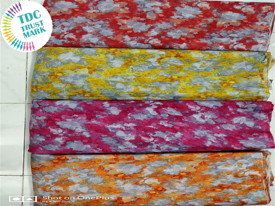 Red Yellow Pink And Orange Rayon Fabric (50 Meters Each Design Each Design)