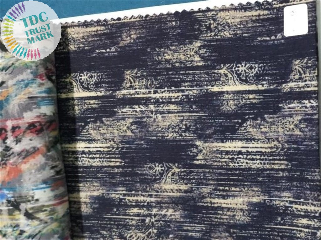 Blue Abstract Design Poly Linen Fabric (15 Meters)