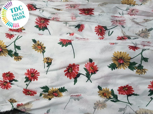 White Flowers Rayon Fabric (500 Metres)