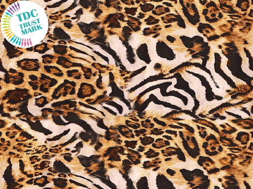 Brown Animal Print Poly Crepe Fabric (25 Metres)