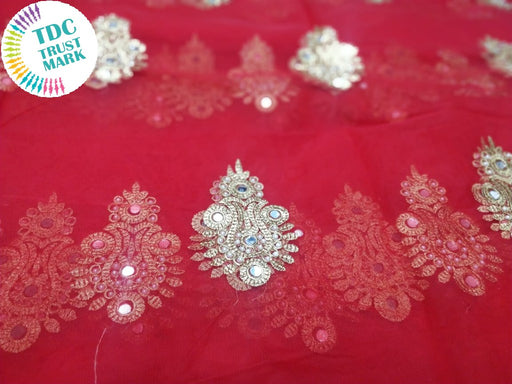 Red Motif Design Embroidered Net Fabric (20 Metres)