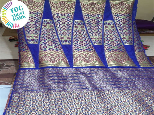 Dark Blue Geometric Polyester Fabric (Set Of 4, 6.5 Metres)