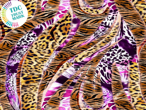 Brown Pink Animal Print Poly Crepe Fabric (25 Metres)