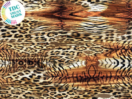 Brown Animal Print Design Poly Crepe Fabric (25 Metres)