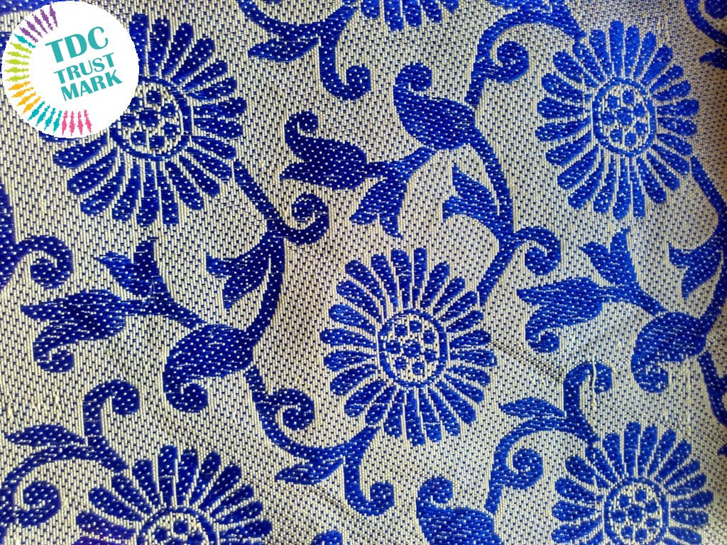 White and Blue Jaipuria Jacquard Fabric (70 Meters)