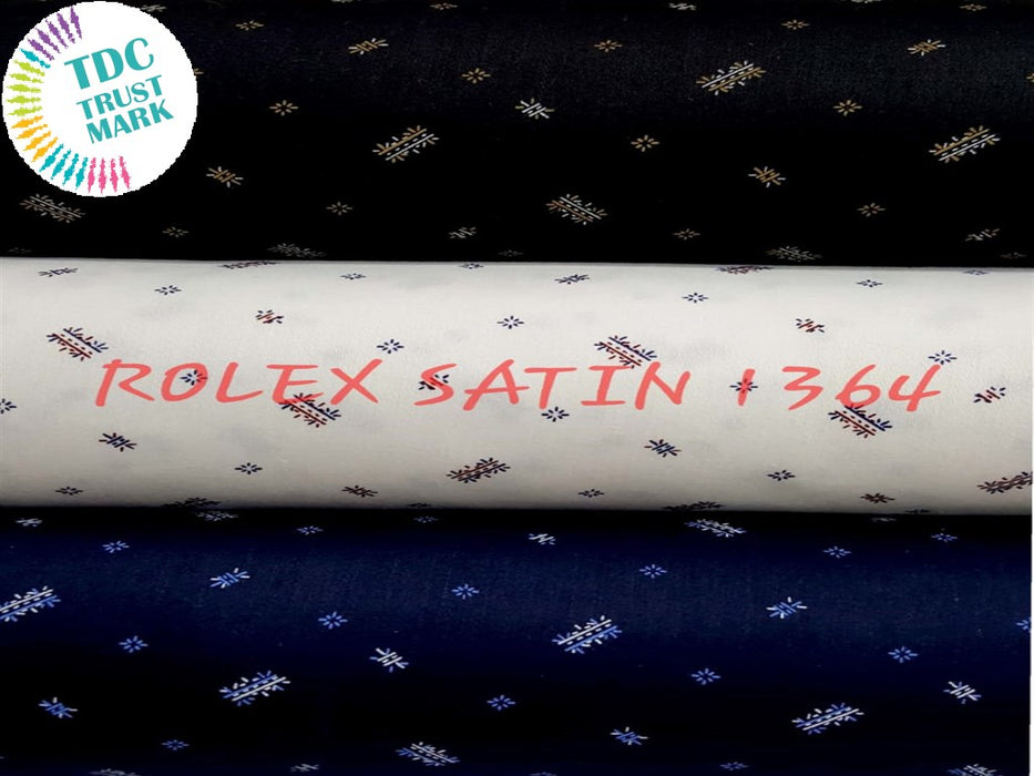 Set of Black White Navy Blue Small Motif Print Rolex Satin Fabric (50 Meters)
