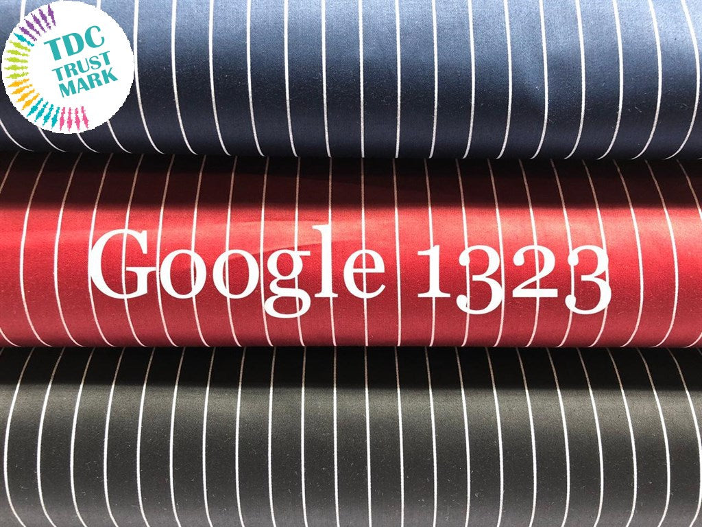 Set of Navy Blue, Red and Black Stripes Design Satin Fabric (50 Meters)
