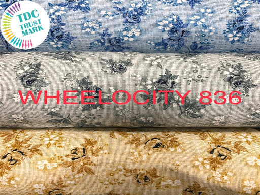 Set of Light Blue, Off-White and Beige Flower Design Poplin Fabric (50 Meters)