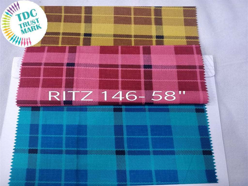 Set of Yellow Pink Blue Checks Design Poplin Fabric (50 Meters)