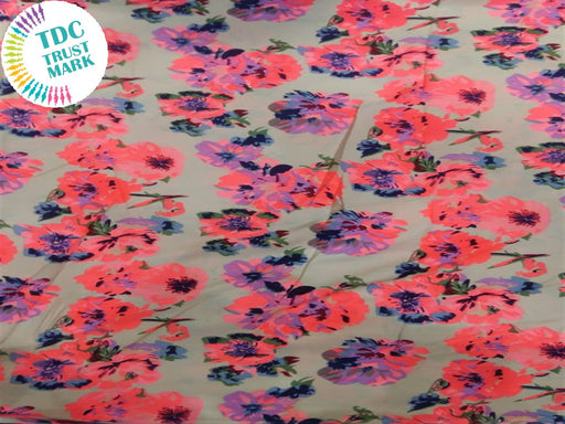 Beige Pink Floral Crepe Fabric (100 Metres)