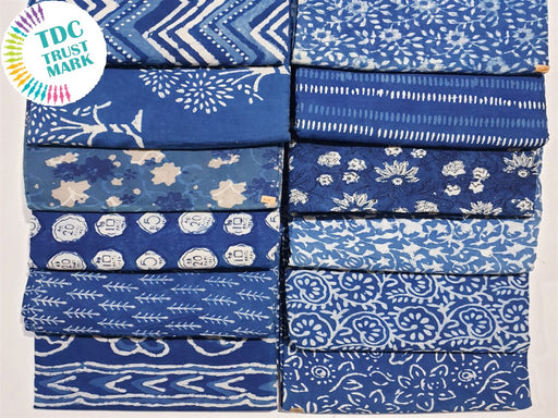 Blue Design 1 Handblocked Cotton Fabric (20 Metres any 2 Colours)