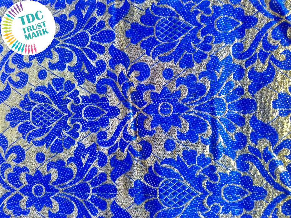 Blue and White Floral Print Jaipuria Jacquard Fabric (70 Meters)