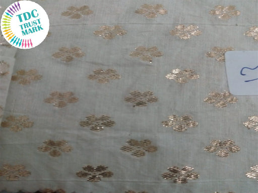 Off White Floral Cotton Chanderi Fabric (50 Metres)