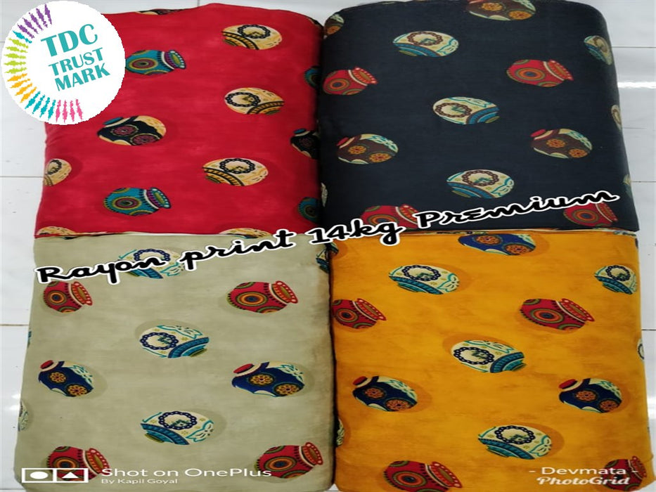 Red Black Off White and Yellow Rayon Fabric (50 Meters Each Design Each Design)