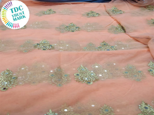 Peach Motif Design Embroidered Net Fabric (20 Metres)