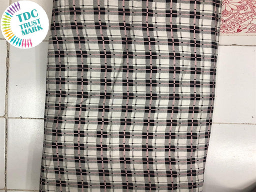 Gray Black Checks Design Rayon Fabric (250 Metres)