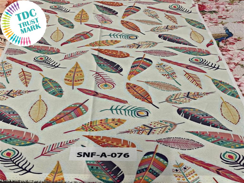 Off White Leaf Polyester Fabric (200 Meters)