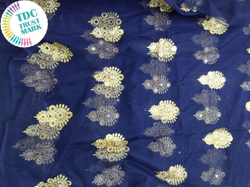 Navy Blue Motif Design Embroidered Net Fabric (20 Metres)