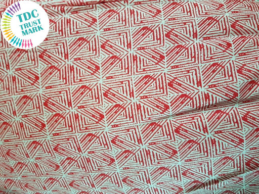 Red Geometric Argyle Rayon Fabric (500 Metres)