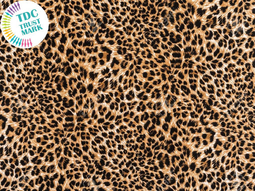 Brown Black Animal Print Poly Crepe Fabric (25 Metres)