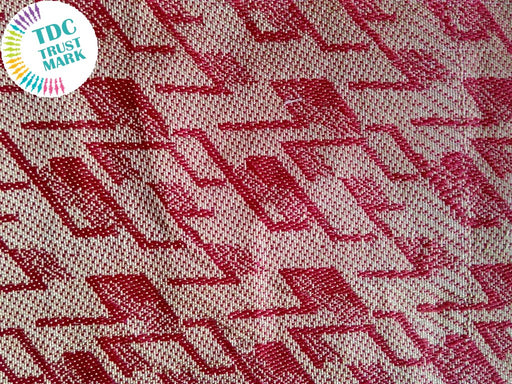 Red and White Jaipuria Jacquard Fabric (70 Meters)