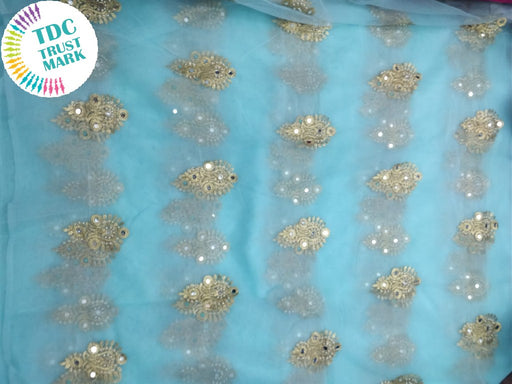 Turquoise Motif Design Embroidered Net Fabric (20 Metres)
