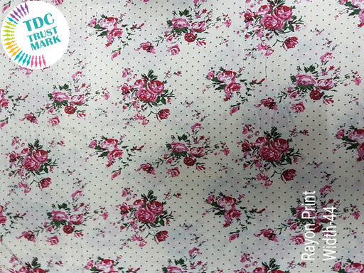 White Pink Flowers Polka Dots Rayon Fabric (500 Metres)