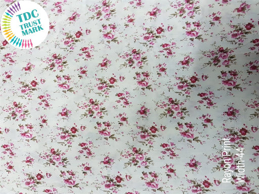 White Pink Small Flowers Rayon Fabric (500 Metres)