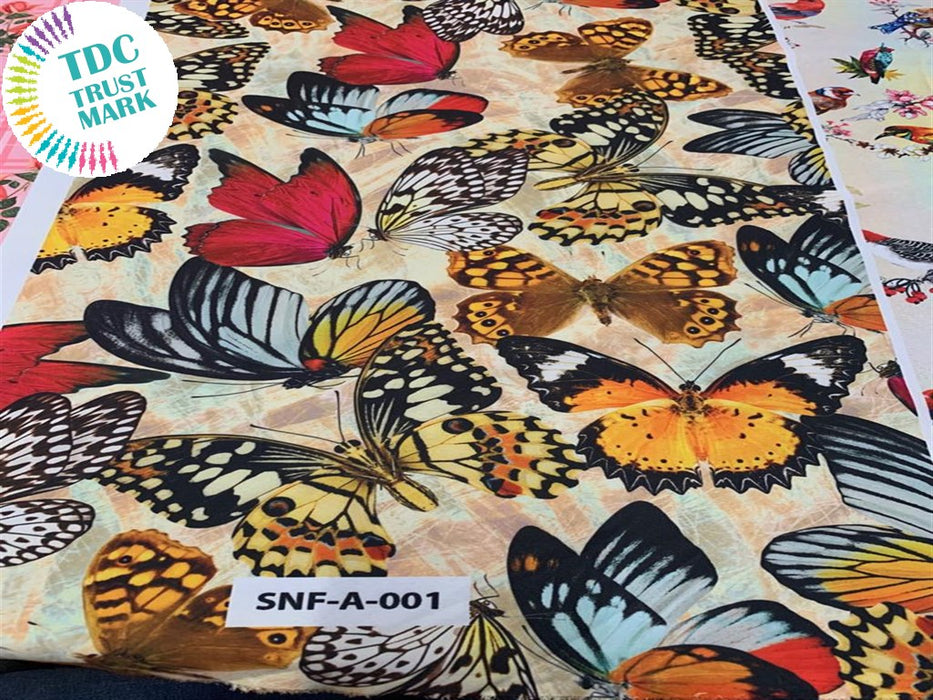 Multicolor Butterfly Polyester Fabric (200 Meters)