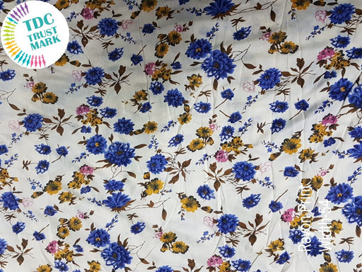 White Blue Flowers Rayon Fabric (500 Metres)