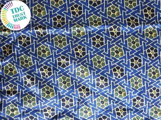 Blue Green Geometric Design Cotton Fabric (20 Metres Each)