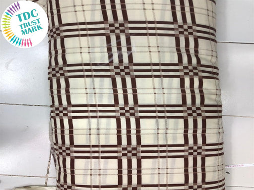 Off White Brown Checks Design Rayon Fabric (250 Metres)