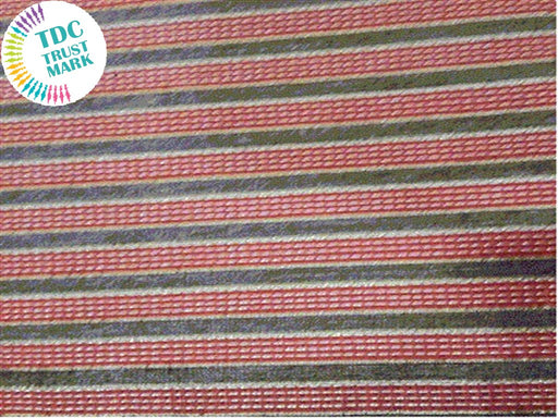 Red Golden Stripes Zari Work Polyester Fabric (100 Metres)