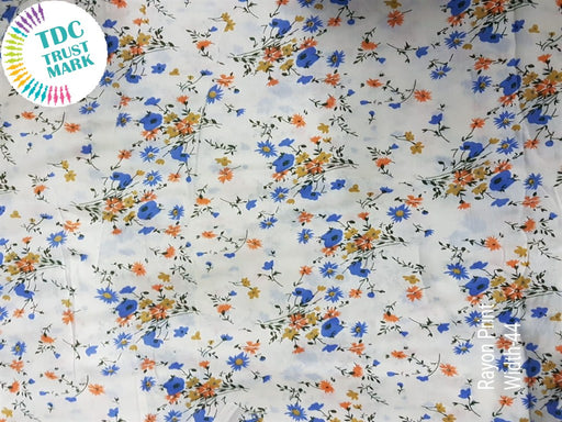 White Blue Small Flowers Rayon Fabric (500 Metres)