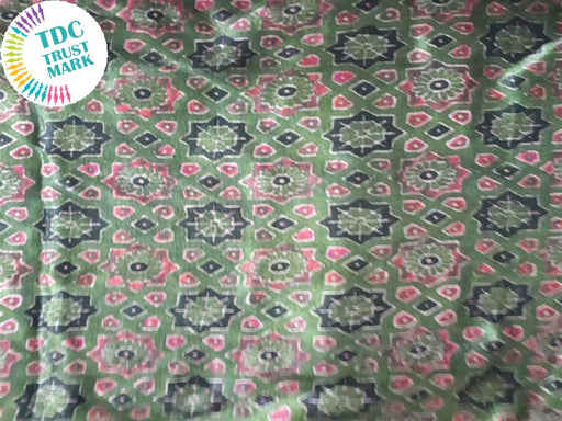 Green Pink Geometric Design Cotton Fabric (20 Metres Each)