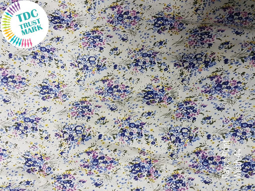White Navy Blue Floral Rayon Fabric (500 Metres)